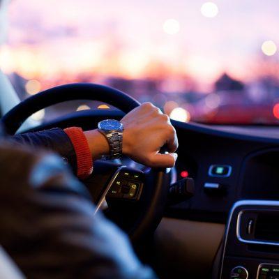 Car Traffic Man Hurry Steering Wheel Dusk Modern